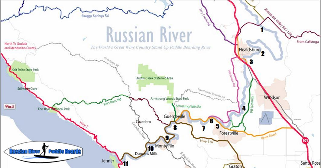 Map Of Jenner California.River Map Russian River Paddle Boards